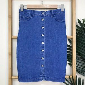 Seed Heritage Blue Denim Button Front Skirt Size 6